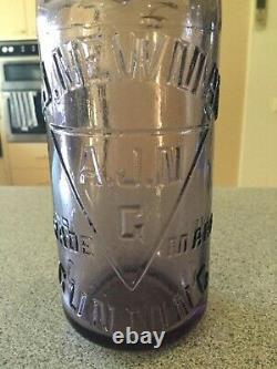 Very rare mint A. J Newman Gunning amethyst 13oz Codd Marble Bottle