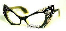 Vintage France 60s Very Rare Masque Cateye Mint Sunglasses Frame & Bvlgari Case